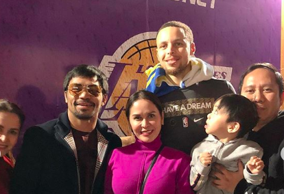 LOOK: Manny Pacquiao, Familie trifft Stephen Curry, Warriors nach dem Spiel in LA